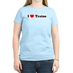 I Love Trains  Women's Pink T-Shirt