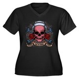 TLC Nurse Skull Women's Plus Size V-Neck Dark T-Sh