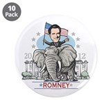 "Romney GOP Elephant 3.5"" Button (10 pack)"