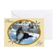 Winter River Sheltie Greeting Card