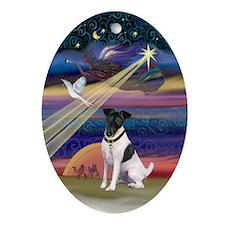 Smooth Fox Terrier Xmas Star Oval Ornament