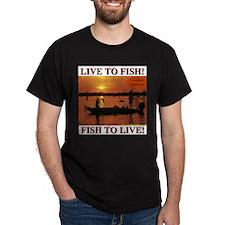 LIVE TO FISH! Black T-Shirt
