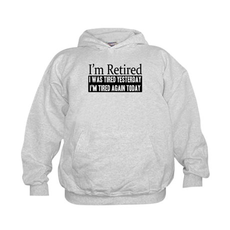 Retired - Tired Again Kids Hoodie
