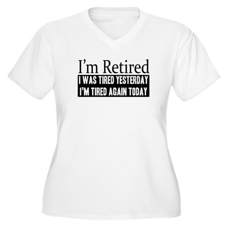 Retired - Tired Again Women's Plus Size V-Neck T-S
