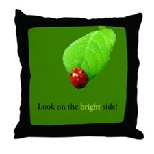 Red Ladybug Bright Side Throw Pillow