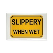 Slippery When Wet Sign Rectangle Magnet