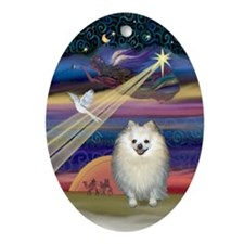 Pomeranian & Christmas Star Oval Ornament