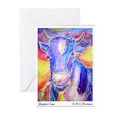 Cow! Purple cow art! Greeting Card