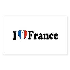I Love France Rectangle Sticker 10 pk)