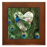 Peacock In a Heart Framed Tile