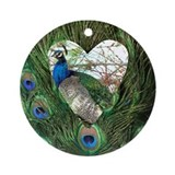 Peacock In a Heart Ornament (Round)
