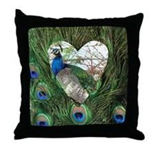 Peacock In a Heart Throw Pillow