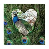 Peacock In a Heart Tile Coaster