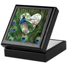 Peacock In a Heart Keepsake Box