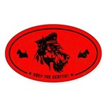 Obey the Scottie! Scottish Terrier Oval Sticker