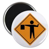 "Flag Man Construction Sign 2.25"" Magnet (100 pack)"
