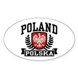 Poland Polska Oval Sticker (10 pk)