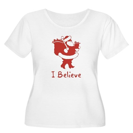 I Believe In Santa Womens Plus Size Scoop Neck T-