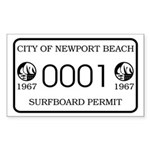 Newport Surfboard Permit 67' Rectangle Sticker