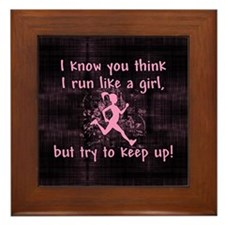 Run Like A Girl Framed Tile