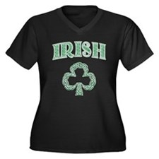 Irish Shamrock Women's Plus Size V-Neck Dark T-Shi
