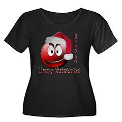 Smiley Santa Women's Plus Size Scoop Neck Dark T-S