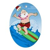Surfing Santa Oval Ornament