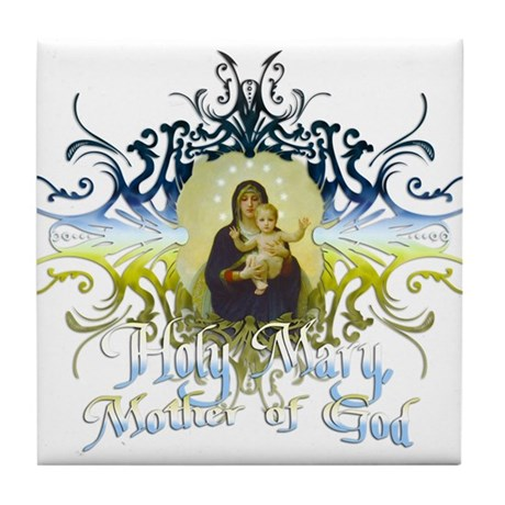 """Holy Mary, Mother of God"" Tile Coaster"