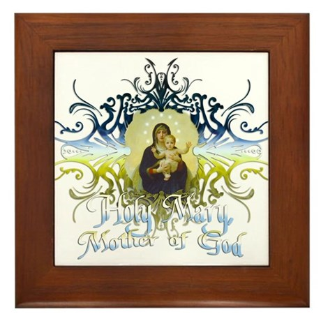 """Holy Mary, Mother of God"" Framed Tile"