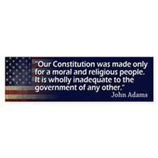 John Adams: Religion/Constitution Bumper Bumper Sticker