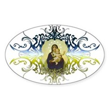 """""""Holy Mary, Mother of God"""" Oval Decal"""