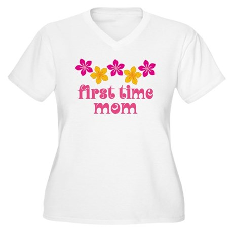 Cute First Time Mom Women's Plus Size V-Neck T-Shi