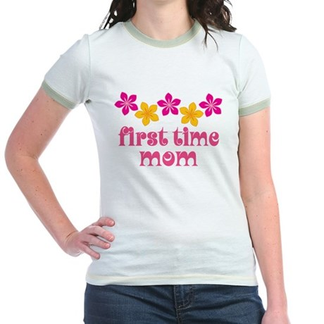 Cute First Time Mom Jr. Ringer T-Shirt