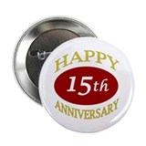 Happy 15th Anniversary 2.25&quot; Button (100 pack)