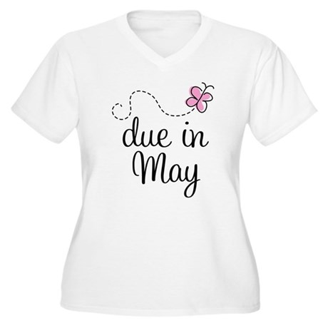 May Maternity Due Date Women's Plus Size V-Neck T-
