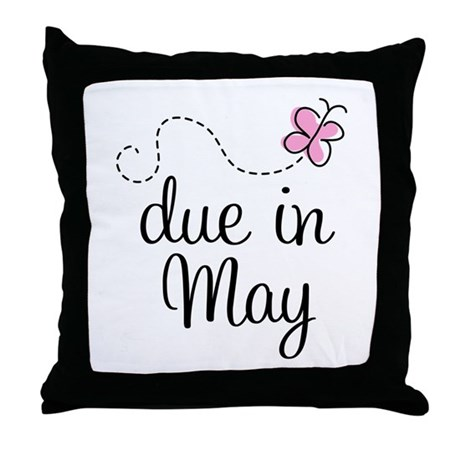 May Maternity Due Date Throw Pillow