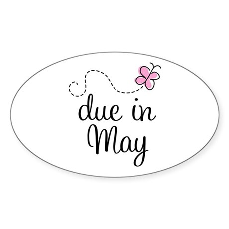 May Maternity Due Date Oval Sticker