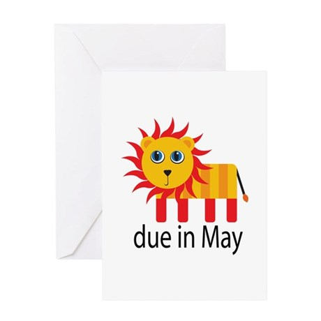 May Lion Due Date Greeting Card