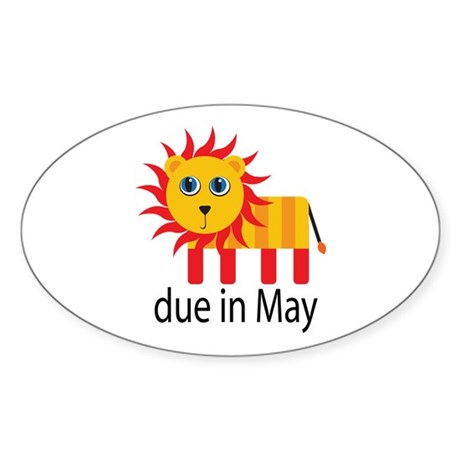 May Lion Due Date Oval Sticker
