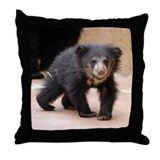Sloth Bear Cub Throw Pillow