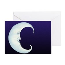 Grinning Crescent Moon Greeting Card