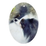 Papillon with Black Ears Oval Ornament