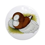 Bokhara Trumpeter Pigeon Ornament (Round)