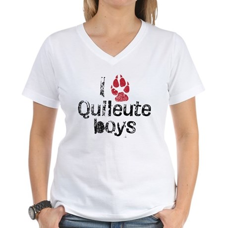 I Paw Quileute Boys Women's V-Neck T-Shirt