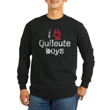 I Paw Quileute Boys Long Sleeve Dark T-Shirt