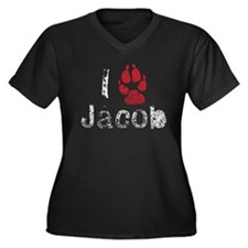 I Paw Jacob Women's Plus Size V-Neck Dark T-Shirt