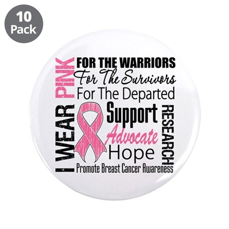 "Pink Ribbon Tribute 3.5"" Button (10 pack)"
