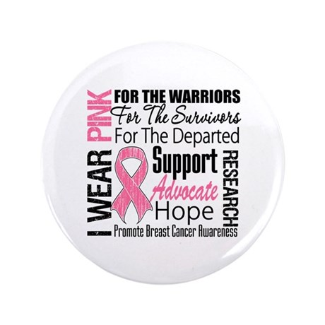 "Pink Ribbon Tribute 3.5"" Button (100 pack)"