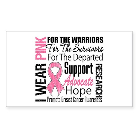 Pink Ribbon Tribute Rectangle Sticker 10 pk)