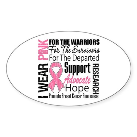 Pink Ribbon Tribute Oval Sticker (10 pk)